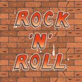 Vector a ilustração de uma rotulação vermelha e amarela colorida em um rolo marrom da rocha de parede n do tijolo Fotos de Stock Royalty Free