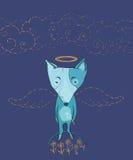 Vector a ilustração do anjo do cão com asas, flores, nuvens Fotos de Stock