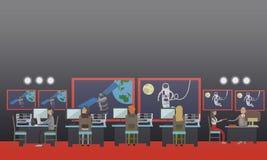 Vector a ilustração do astronauta no espaço, estilo liso ilustração stock