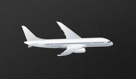 Vector a ilustração do avião de passageiros branco do passageiro isolado no fundo transparente ilustração do vetor