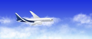 Vector a ilustração do avião do passageiro no céu azul nebuloso ilustração do vetor