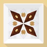 Vector a ilustração do baklava em uma placa branca quadrada com um teste padrão tradicional Fotos de Stock Royalty Free