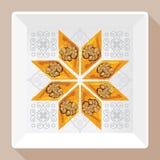Vector a ilustração do baklava em uma placa branca quadrada com um teste padrão tradicional Imagem de Stock