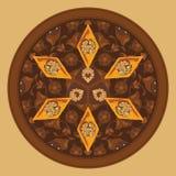 Vector a ilustração do baklava em uma placa redonda com um teste padrão tradicional Imagens de Stock Royalty Free