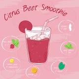 Vector a ilustração do batido vegetal em um vidro com uma palha e imagens dos ingredientes Cartão imprimível ou cartaz Imagem de Stock Royalty Free