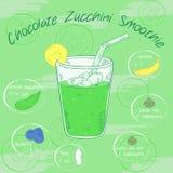 Vector a ilustração do batido vegetal em um vidro com uma palha e imagens dos ingredientes Cartão imprimível ou cartaz Fotos de Stock