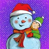 Vector a ilustração do boneco de neve e do menino no estilo do pop art Imagem de Stock Royalty Free