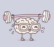 Vector a ilustração do cérebro retro do rosa da cor pastel com glasse Fotos de Stock Royalty Free