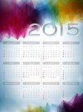 Vector a ilustração 2015 do calendário no fundo abstrato da cor Fotografia de Stock Royalty Free