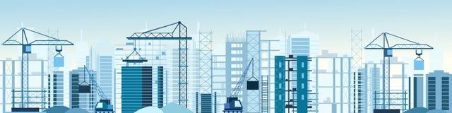 Vector a ilustração do canteiro de obras das construções e cranes a bandeira Arranha-céus sob a construção máquina escavadora, ca ilustração stock