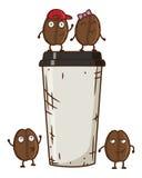 Vector a ilustração do caráter do feijão de café com copo de café Feijões de café da dança dos desenhos animados Fotografia de Stock