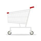 Vector a ilustração do carrinho de compras vazio do supermercado da vista lateral isolado no fundo branco Imagem de Stock