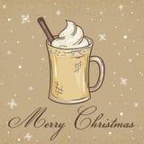 Vector a ilustração do cartão do papel de embalagem do Natal com gemada, etiqueta e flocos de neve Pode ser usado para o cartão,  Imagens de Stock Royalty Free
