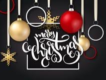 Vector a ilustração do cartão do Natal com etiqueta da rotulação da mão Foto de Stock