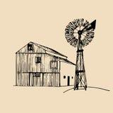Vector a ilustração do celeiro tradicional da exploração agrícola com o moinho de vento no estilo esboçado Bio cartaz orgânico do ilustração stock