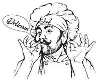 Vector a ilustração do cozinheiro chefe com bigode e mãos Foto de Stock