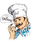 Vector a ilustração do cozinheiro chefe com bigode e mãos Fotografia de Stock Royalty Free