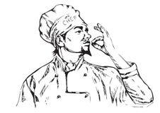 Vector a ilustração do cozinheiro chefe com bigode e mãos Imagem de Stock Royalty Free