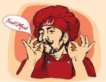Vector a ilustração do cozinheiro chefe com bigode e mãos Foto de Stock Royalty Free