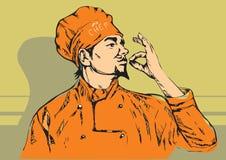 Vector a ilustração do cozinheiro chefe com bigode e mãos Fotos de Stock