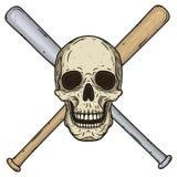Vector a ilustração do crânio humano com estilo tirado cruzado dos bastões de beisebol à disposição Imagens de Stock Royalty Free