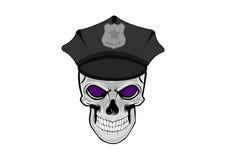 Vector a ilustração do crânio humano no tampão da polícia ilustração stock