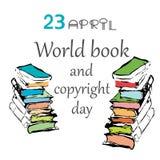 Vector a ilustração do dia de livro e de Copyright de mundo Foto de Stock Royalty Free