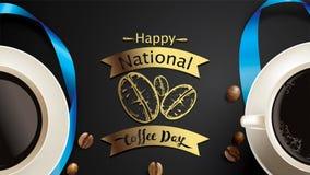 Vector a ilustração do dia internacional ou nacional feliz do café com rotulação da mão Apropriado para o cartão, o cartaz e o ba ilustração stock