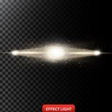 Vector a ilustração do dois raios claros dourados com brilho, feixes luminosos com faíscas Imagens de Stock Royalty Free
