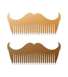 Vector a ilustração do estilo do moderno dos pentes na forma dos bigodes Foto de Stock