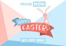 Vector a ilustração do fundo da venda da mola de easter com coelho bonito ilustração royalty free