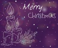 Vector a ilustração do fundo luminoso do Natal com esboço das velas, do ramo da etiqueta da árvore de Natal, dos alargamentos e d Imagem de Stock