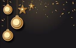 Vector a ilustração do fundo do Natal com ouro dos confetes do floco de neve da estrela da bola do Natal e as cores pretas atam p ilustração do vetor