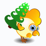 Vector a ilustração do galo, símbolo 2017 no calendário chinês Galo amarelo da silhueta, decorado elemento para o ` s de do ano n Fotografia de Stock Royalty Free