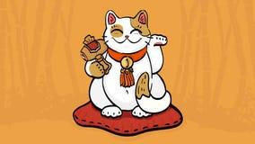 Vector a ilustração do gato da talismã do neko do maneki que acena a riqueza e a felicidade Imagens de Stock