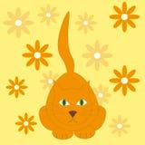 Vector a ilustração do gato vermelho no fundo amarelo com flo Imagens de Stock Royalty Free