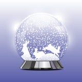 Vector a ilustração do globo da neve com um coelho do Natal Fotos de Stock