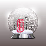 Vector a ilustração do globo da neve com um vermelho Imagens de Stock Royalty Free