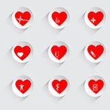 Vector a ilustração do grupo de ícones médicos, hospital do coração Fotos de Stock Royalty Free