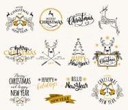 Vector a ilustração do grupo do Feliz Natal e do ano novo feliz ilustração stock