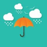 Vector a ilustração do guarda-chuva, das nuvens e da chuva Imagem de Stock Royalty Free