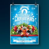 Vector a ilustração do inseto do partido do Feliz Natal com elementos da tipografia e do feriado no fundo azul invitation Imagem de Stock Royalty Free