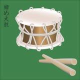 Vector a ilustração do instrumento de percussão asiático tradicional Taiko ou do cilindro de Shime Daiko Japonês, chinês, coreano Foto de Stock Royalty Free