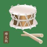 Vector a ilustração do instrumento de percussão asiático tradicional Taiko ou do cilindro de Shime Daiko Um nome do cilindro Shim Imagem de Stock Royalty Free