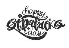 Vector a ilustração do logotype feliz do dia do ` s de St Patrick Projeto irlandês esboçado mão da celebração Typogr da rotulação ilustração royalty free