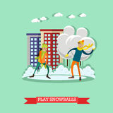 Vector a ilustração do menino e da menina que jogam bolas de neve, estilo liso ilustração stock