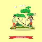 Vector a ilustração do menino e da menina que jogam o badminton, estilo liso ilustração do vetor