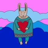 Vector a ilustração do menino romântico bonito do coelho com coração Imagens de Stock Royalty Free