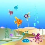 Vector a ilustração do mundo subaquático e de seus habitantes Fotos de Stock Royalty Free