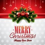 Vector a ilustração do Natal com fita e elementos brilhantes do feriado no fundo vermelho ilustração do vetor